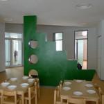 gestaltete Wand/offener Essbereich
